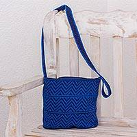 Crocheted cotton shoulder bag, 'Chevron Celebration in Blue' - Blue and Navy Chevron Pattern Hand Crocheted Shoulder Bag