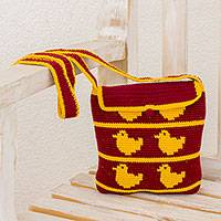 Crocheted cotton shoulder bag, 'Playful' - Yellow-Orange Ducks on Maroon Hand Crocheted Shoulder Bag