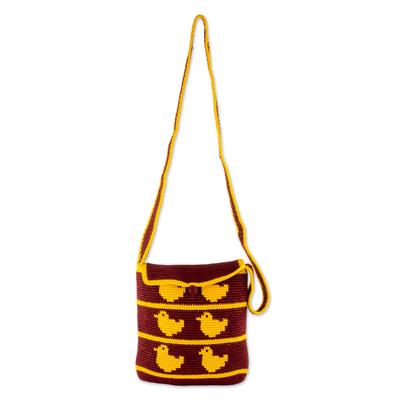Novica Crocheted cotton shoulder bag, Playful