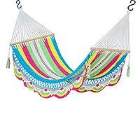 Cotton rope hammock, 'Vibrant Rainbow' (single)