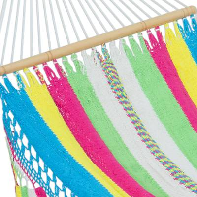 Cotton rope hammock, 'Vibrant Rainbow' (single) - Multicolored Handwoven Nicaraguan Cotton Hammock (Single)