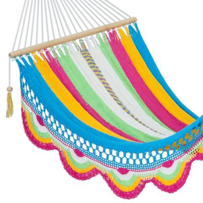 Cotton hammock, 'Colorful Cocktail' (single) - Handwoven Striped Nicaraguan Cotton Hammock (Single)