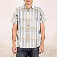 Men's natural cotton and recycled denim short sleeve shirt, 'Noble Lines' - Men's Loom Woven Striped Cotton Shirt with Short Sleeves