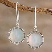 Opal dangle earrings, 'Spotlight' - White Opal and Sterling Silver Handcrafted Dangle Earrings
