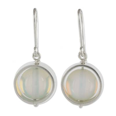 White Opal and Sterling Silver Handcrafted Dangle Earrings