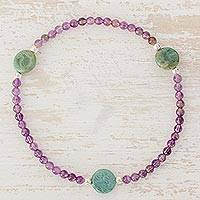 Amethyst and jasper beaded stretch anklet, 'Ring of Violets' - Amethyst and Jasper with Sterling Silver Ankle Bracelet