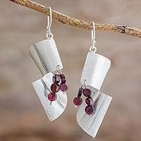 Garnet dangle earrings, 'Alluring Mystique' - Sterling Silver and Garnet Dangle Earrings