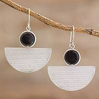 Onyx dangle earrings, 'Geometric Sheen' - Handcrafted Sterling Silver and Onyx Dangle Earrings