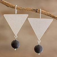 Onyx dangle earrings, 'Triangle Sheen' - Handcrafted Sterling Silver and Onyx Dangle Earrings
