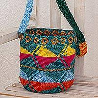 Cotton bucket bag, 'Multicolored Guatemala' - Multicolored Crocheted Cotton Bucket Bag from Guatemala