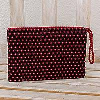 Cotton wristlet, 'Poppies' - Black with Red Flowers Cotton Hand Woven Wristlet