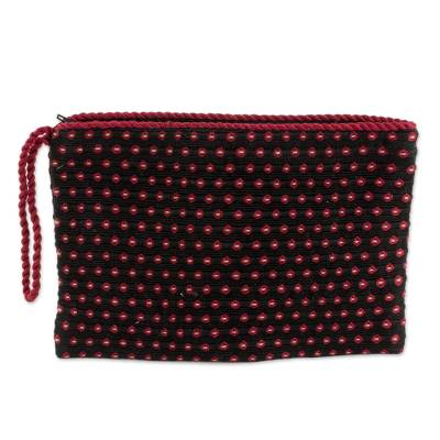 Black with Red Flowers Cotton Hand Woven Wristlet