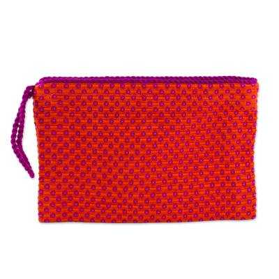 Orange with Fuchsia Flowers Cotton Hand Woven Wristlet