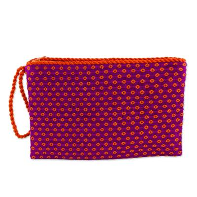 Fuchsia with Orange Flowers Cotton Hand Woven Wristlet