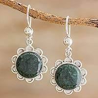 Jade dangle earrings, 'Dark Green Solar Flower' - Dark Green Jade Dangle Earrings from Guatemala