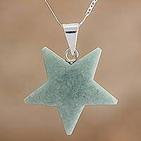 Jade pendant necklace, 'Stellar Light in Apple Green' - Jade Star Pendant Necklace in Apple Green from Guatemala