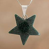 Jade pendant necklace, 'Stellar Light in Dark Green' - Jade Star Pendant Necklace in Dark Green from Guatemala
