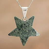 Jade pendant necklace, 'Stellar Light in Green' - Jade Star Pendant Necklace in Green from Guatemala