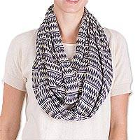 Cotton infinity scarf, 'Crisp Morning' - Hand Woven Blue and Off-White Cotton Infinity Scarf