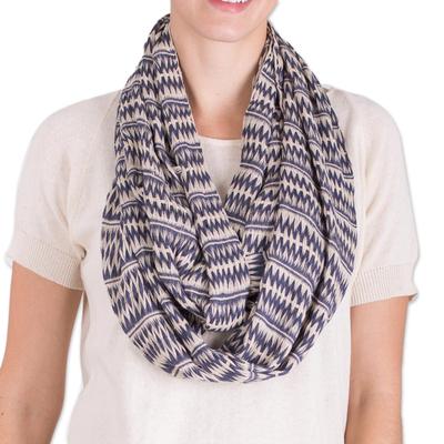 Cotton infinity scarf, 'Crisp Morning' - Hand Woven Blue and Off-White Cotton Infinity Scarf