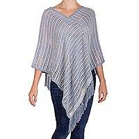 Cotton poncho, 'Misty Illusion' - Blue and Ivory Cotton and Recycled Denim Poncho