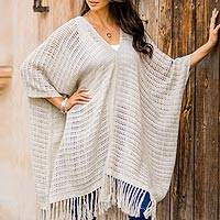 Cotton poncho, 'Element in Grey' - Woven Brown and Ivory Cotton Poncho from Guatemala