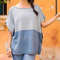 Natural cotton and recycled denim poncho, 'Sea and Sky' - Cotton and Recycled Denim Poncho from Guatemala