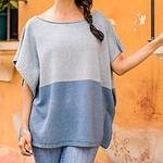 Cotton and Recycled Denim Poncho from Guatemala, 'Sea and Sky'