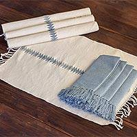 Cotton table linen set, 'Welcome Home' (set for 4) - Hand Woven Cotton Napkin and Placemat Set for Four