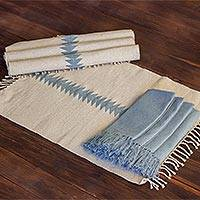 Cotton table linen set, 'Welcome Guest' (set for 4) - Hand Woven Cotton Napkin and Placemat Set for 4