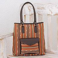 Leather accent cotton shoulder bag, 'Autumn Passage' - Handwoven Striped Cotton Shoulder Bag from Guatemala