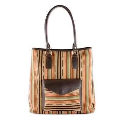 Novica Leather accent cotton shoulder bag, Autumn Passage