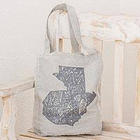 100% cotton shoulder bag, 'A Singular Land' - Grey 100% Cotton Tote Bag with Guatemalan Map Design