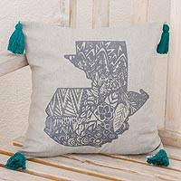100% cotton cushion cover, 'Pride of Guatemala' (16 inch) - Cotton Cushion Cover with Guatemalan Map Print (16 inch)