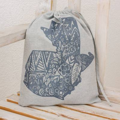 100% cotton tote bag, 'Incomparable Guatemala' - 100% Cotton Tote Bag with Design in the Shape of Guatemala