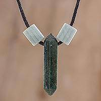 Jade pendant necklace, 'Dark Green Obelisk' - Jade Pendant Necklace in Dark Green from Guatemala