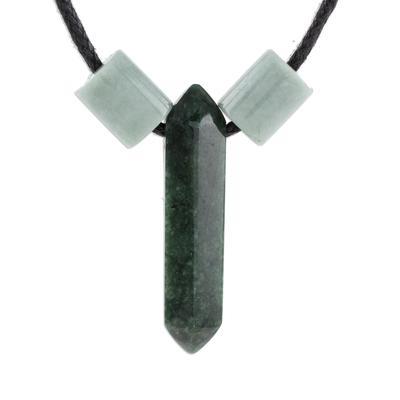 Jade pendant necklace, 'Dark Green Obelisk' - Jade Pendant Necklace in Dark Green from Guatemala