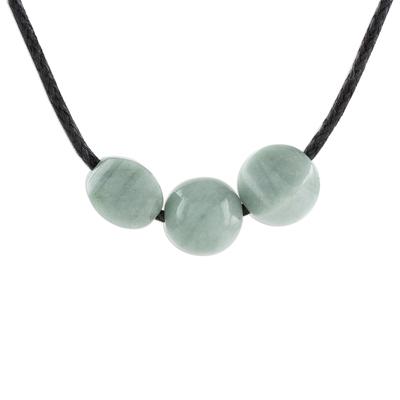 Jade pendant necklace, 'Apple Green Trio' - Adjustable Apple Green Jade Pendant Necklace from Guatemala