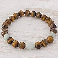 Jade and tiger's eye beaded stretch bracelet, 'Beautiful Trio' - Jade and Tiger's Eye Beaded Stretch Bracelet from Guatemala