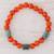 Jade and agate beaded stretch bracelet, 'Mountain Daybreak' - Jade and Orange Agate Beaded Stretch Bracelet from Guatemala (image 2) thumbail