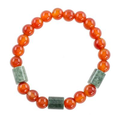 Jade and agate beaded stretch bracelet, 'Mountain Daybreak' - Jade and Orange Agate Beaded Stretch Bracelet from Guatemala