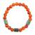 Jade and agate beaded stretch bracelet, 'Mountain Daybreak' - Jade and Orange Agate Beaded Stretch Bracelet from Guatemala thumbail