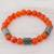 Jade and agate beaded stretch bracelet, 'Mountain Daybreak' - Jade and Orange Agate Beaded Stretch Bracelet from Guatemala (image 2b) thumbail