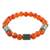 Jade and agate beaded stretch bracelet, 'Mountain Daybreak' - Jade and Orange Agate Beaded Stretch Bracelet from Guatemala (image 2c) thumbail