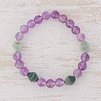 Jade and amethyst beaded stretch bracelet, 'Fields of Lavender' - Jade and Amethyst Beaded Stretch Bracelet from Guatemala