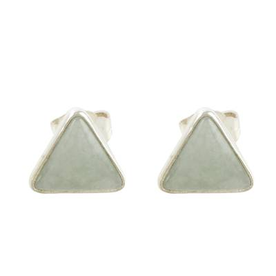 Jade and Sterling Silver Triangle Stud Earrings