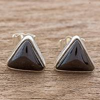 Jade stud earrings, 'Triangle Mystique' - Black Jade and Sterling Silver Triangle Stud Earrings