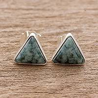 Jade stud earrings, 'Triangle Perfection' - Jade and Sterling Silver Triangle Stud Earrings