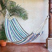 Recycled cotton blend hammock, 'Relaxing Breeze' (single) - Striped Handwoven Recycled Cotton Blend Single Hammock