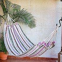Recycled cotton blend hammock, 'Restful' (single) - Handwoven Stripes Recycled Cotton Blend Single Hammock